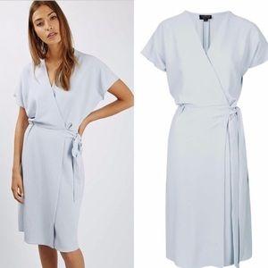 Topshop blue midi wrap dress
